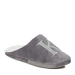 Lounge & Sleep - Grey embroidered letter 'K' mule slippers