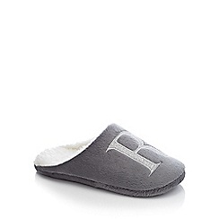 Lounge & Sleep - Grey embroidered letter 'R' mule slippers