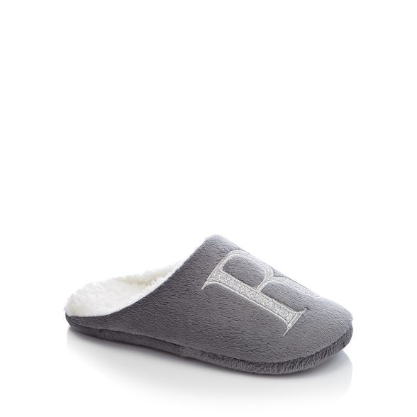 amp; embroidered Lounge mule 'R' slippers letter Sleep Grey 1qdBACdw