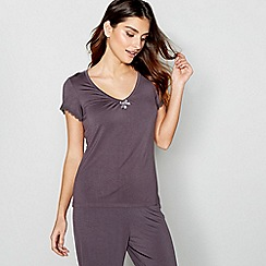 J by Jasper Conran - Dark grey 'Hygge' short sleeve pyjama top