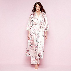 The Collection - Pale pink floral print satin 'Eva' dressing gown