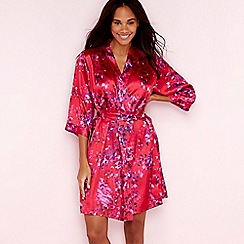 The Collection - Red floral confetti print satin dressing gown
