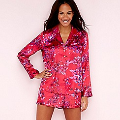 The Collection - Red floral confetti print satin long sleeve pyjama set