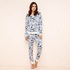 Lounge & Sleep - Blue floral cotton blend pyjama set