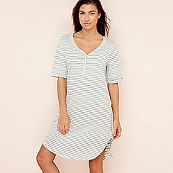 Lounge & Sleep - Grey striped print cotton blend 'Wall Flower' nightdress