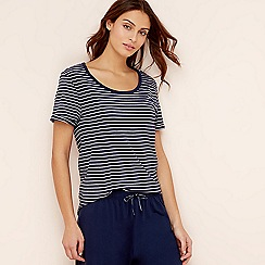 Lounge & Sleep - Navy stripe print pure cotton short sleeve pyjama top