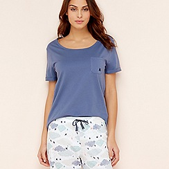 Lounge & Sleep - Blue cotton short sleeve pyjama top
