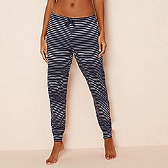 Lounge & Sleep - Navy stripe print pure cotton 'Making Waves' pyjama bottoms