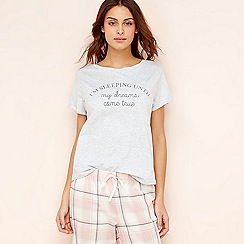 Lounge & Sleep - Grey slogan cotton pyjama top