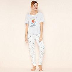 Lounge & Sleep - White cotton 'I Love You Berry Much' pyjama set