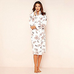 Lounge & Sleep - Cream floral butterfly print fleece dressing gown