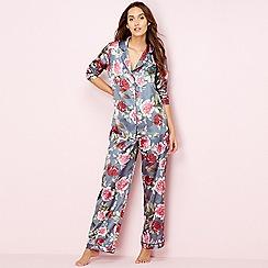 The Collection - Grey floral print satin pyjama set