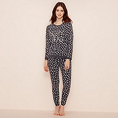Lounge & Sleep - Dark grey dot print cotton blend long sleeve pyjama set