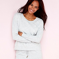 Lounge & Sleep - Grey star embossed long sleeve loungewear top