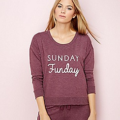 Lounge & Sleep - Maroon 'Weekend' slogan loungewear top