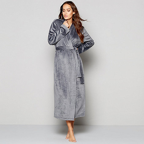 J by Jasper Conran Grey island fleece dressing gown | Debenhams