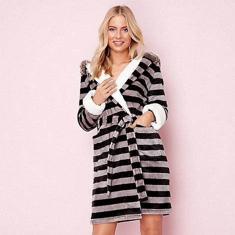 Lounge & Sleep Grey fluffy raccoon dressing gown   Debenhams