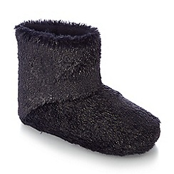 Lounge & Sleep - Navy faux fur sparkle ankle slipper boots