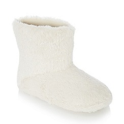 Lounge & Sleep - Cream faux fur sparkle ankle slipper boots