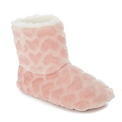 Lounge & Sleep - Light pink heart embossed slipper boots