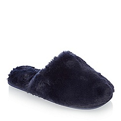 Lounge & Sleep - Navy faux fur mule slippers