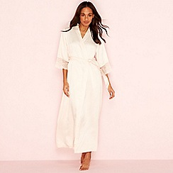 The Collection - Cream long lace sleeve dressing gown
