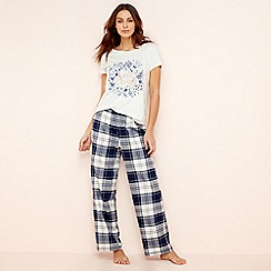 Lounge & Sleep - Blue check print short sleeve pyjama set