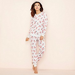 Lounge & Sleep - Grey wallflower print long sleeve pyjama set