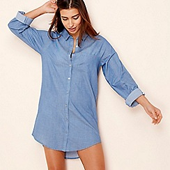 Lounge & Sleep - Blue 'Good vibes' long sleeve nightshirt