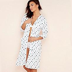Lounge & Sleep - White spot print jersey wrap