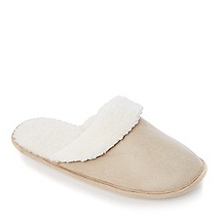 Lounge & Sleep - Beige memory foam mule slipper