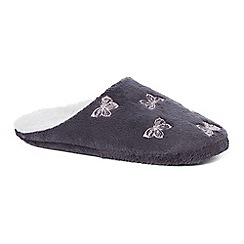 Lounge & Sleep - Grey butterfly embroidered closed mule slippers