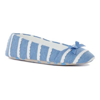 Lounge & Sleep - Blue jersey scallop ballet slippers
