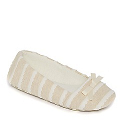 Lounge & Sleep - Nude jersey scalloped ballet slippers