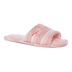 Lounge & Sleep - Pink stripe print open toe mule slippers