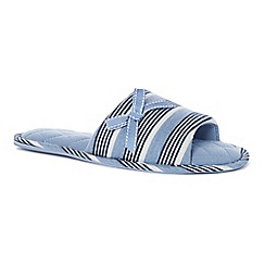 Lounge & Sleep - Blue stripe print open toe mule slippers