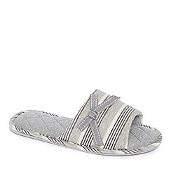 Lounge & Sleep - Grey striped open-toe mule slippers