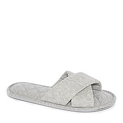 Lounge & Sleep - Grey cross-over mule slippers