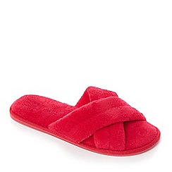Lounge & Sleep - Pink towelling open-toe mule slippers