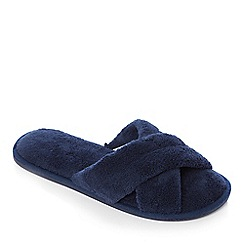 Lounge & Sleep - Navy towelling open-toe mule slippers