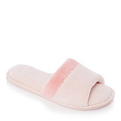 Lounge & Sleep - Pink cross strap open toe mule slipper
