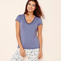 Lounge & Sleep - Blue 'Making Waves' short sleeve pyjama top
