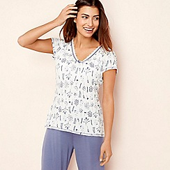 Lounge & Sleep - Ivory floral print 'Making Waves' short sleeve pyjama top