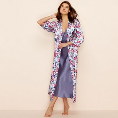 The Collection Purple floral print satin  Meadow  dressing gown ... e9ef8548f
