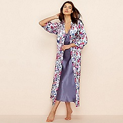 The Collection - Purple floral print satin 'Meadow' dressing gown