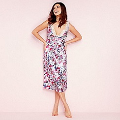 The Collection - Purple floral print lace satin 'Meadow' nightdress