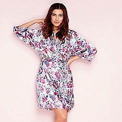 The Collection - Purple floral print 'Meadow'' satin dressing gown