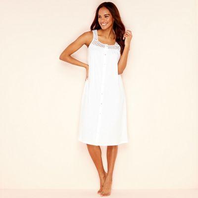 Lounge   Sleep - White pure cotton sleeveless nightdress 04bde2e718
