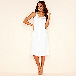 Lounge & Sleep - White pure cotton sleeveless nightdress