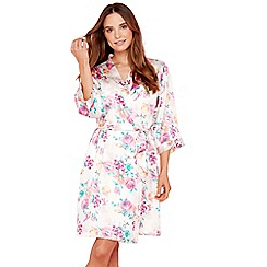 The Collection - Pale pink floral print satin dressing gown